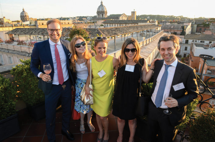 Phillip Aumuellner, LLM '10, and Maria Gritsenko, LLM '06, with guests